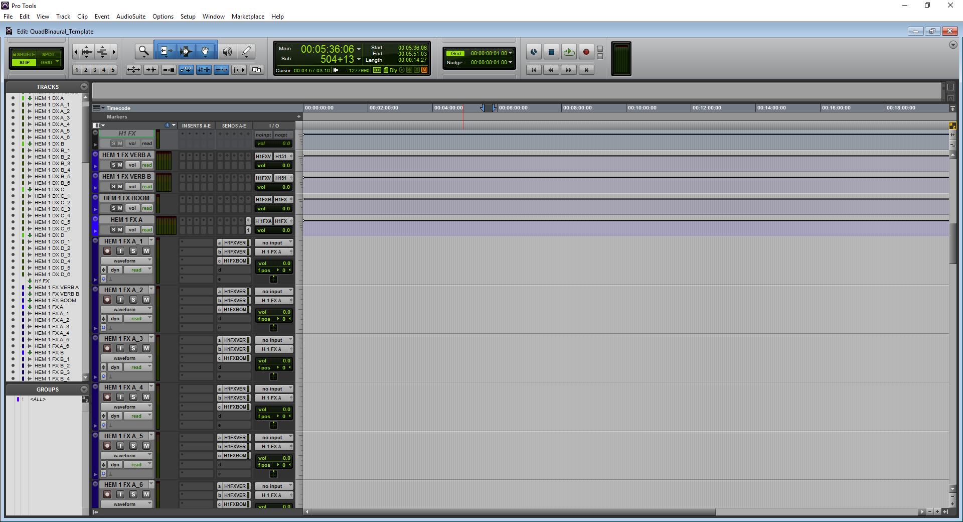 A screenshot of Pro Tools showing the FX predub