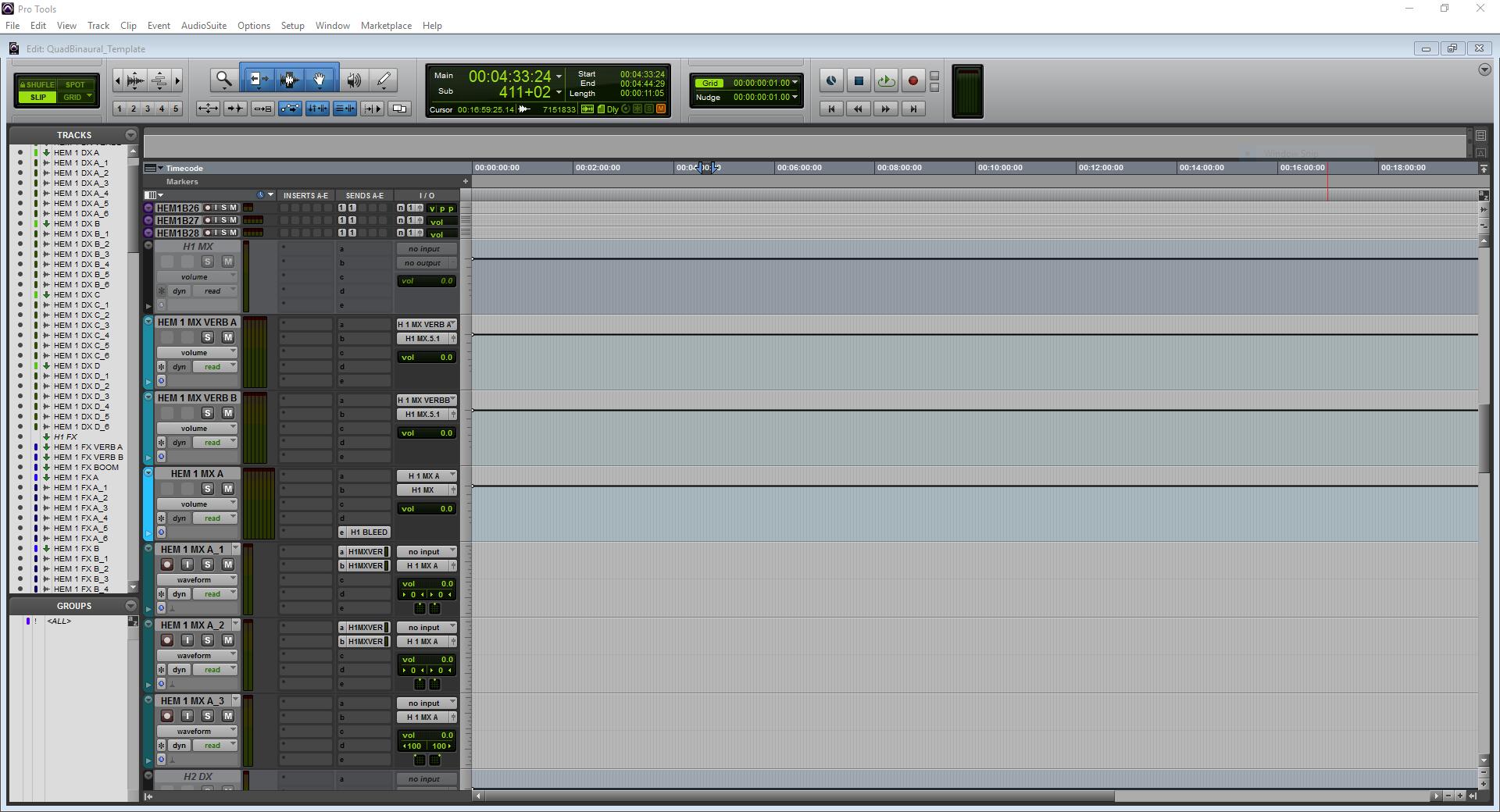 A screenshot of Pro Tools showing the MX predub