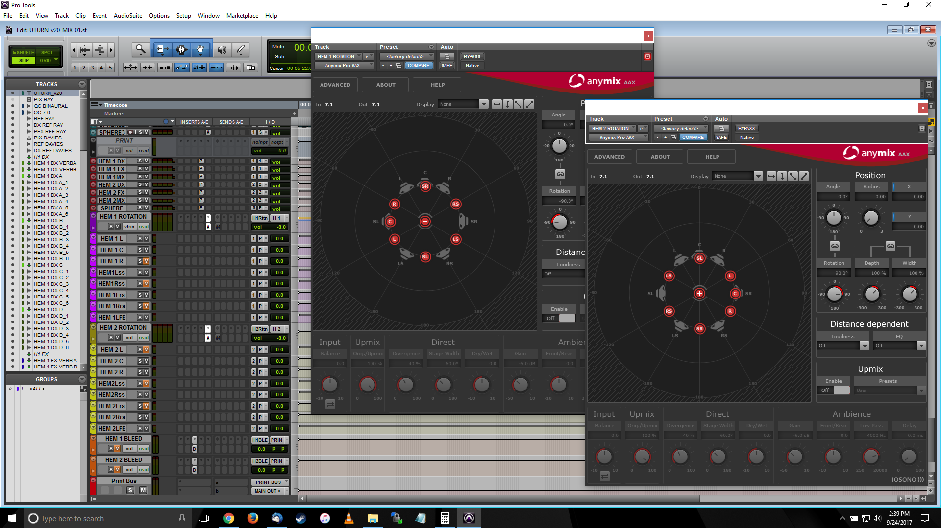 """A screenshot of Pro Tools showing the required channel mutes and mix rotation plug-ins to generate the """"90 degree"""" side mix"""