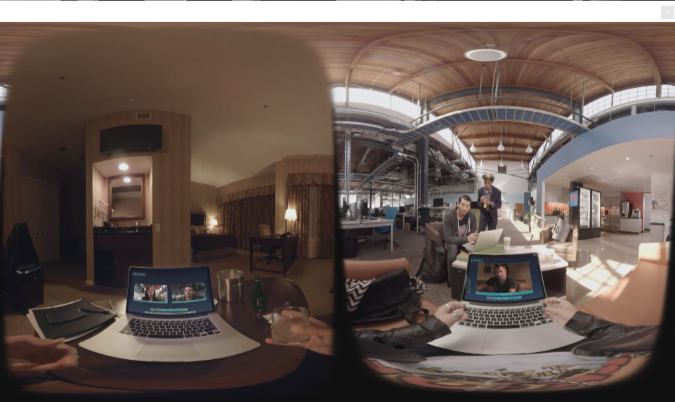 A screenshot of the VR short showing a single simultaneous moment from both side of the story.